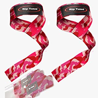 """Rip Toned Lifting Wrist Straps (Pair) for Weightlifting, Bodybuilding, Powerlifting, Xfit, Strength Training, Deadlifts, MMA - Neoprene Padded - 23"""" Cotton Straps - Men or Women"""