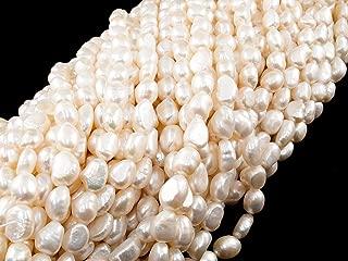 Beads Ok, DIY, Perla Cultivadas, A-grado, Blanco, Genuino, Natural, 7-8mm, Cuenta, Guijarro/Nugget, Cerca de los 37.5cm un Tira. Vendido por Tira. (Freshwater Cultured Pearl, White, Pebble Bead)