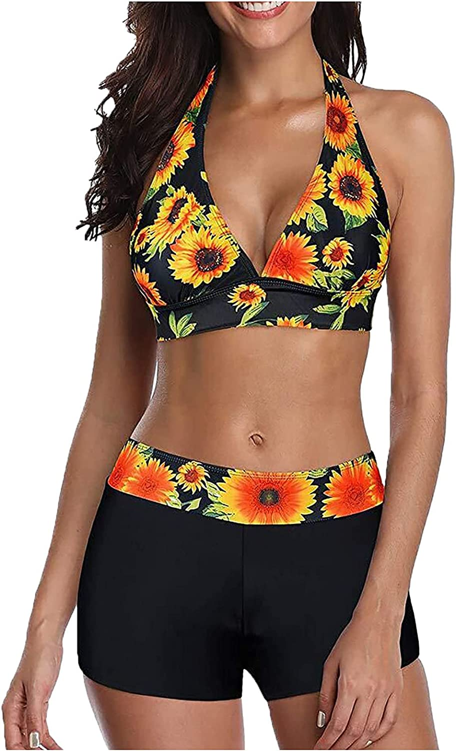 Women's Sunflower Print Halter Two Piece Ne Max 51% OFF Sexy V Mesa Mall Suits Bathing