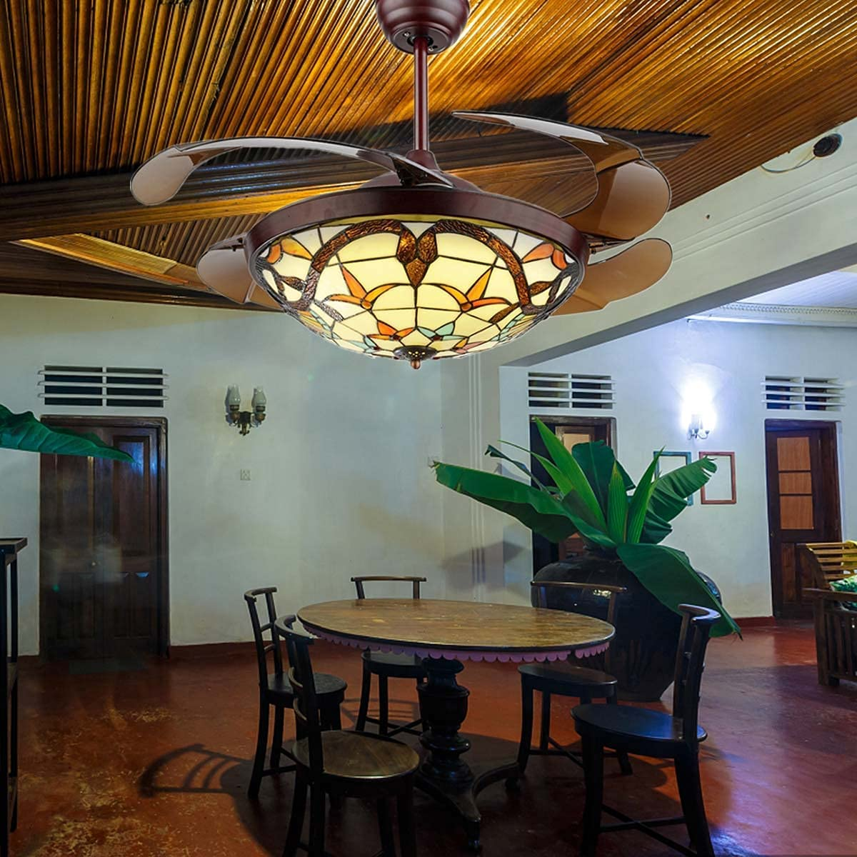 """42"""" Tiffany Style Ceiling Fan Max 58% OFF Retractable Classic Chandelier Choice Bl"""