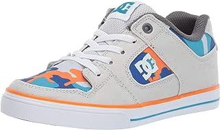 DC Boys' Pure Elastic SE Skate Shoe, Blue/Orange, 1 M US Little Kid