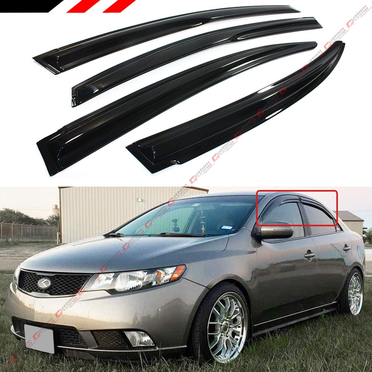 Cuztom Tuning Seattle Mall 3D Wavy Style Max 42% OFF Smoked Visor Window Weather fo Guard