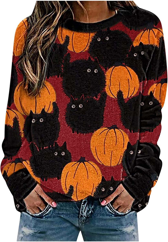 Jaqqra Womens Halloween Sweatshirts Crewneck Long Sleeve Pumpkin Print Graphic Tops Halloween Shirts Pullover Sweaters