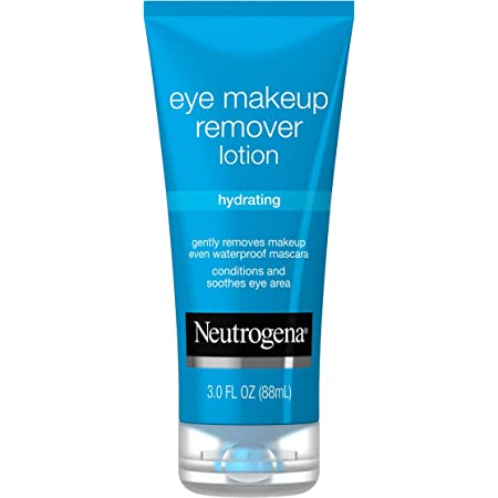 Neutrogena Hydrating Eye Makeup Remover Lotion, Gentle Daily Makeup Remover with Skin-Soothing Aloe and Cucumber Extracts to Remove Even Waterproof Mascara, Fragrance-Free, 3 oz