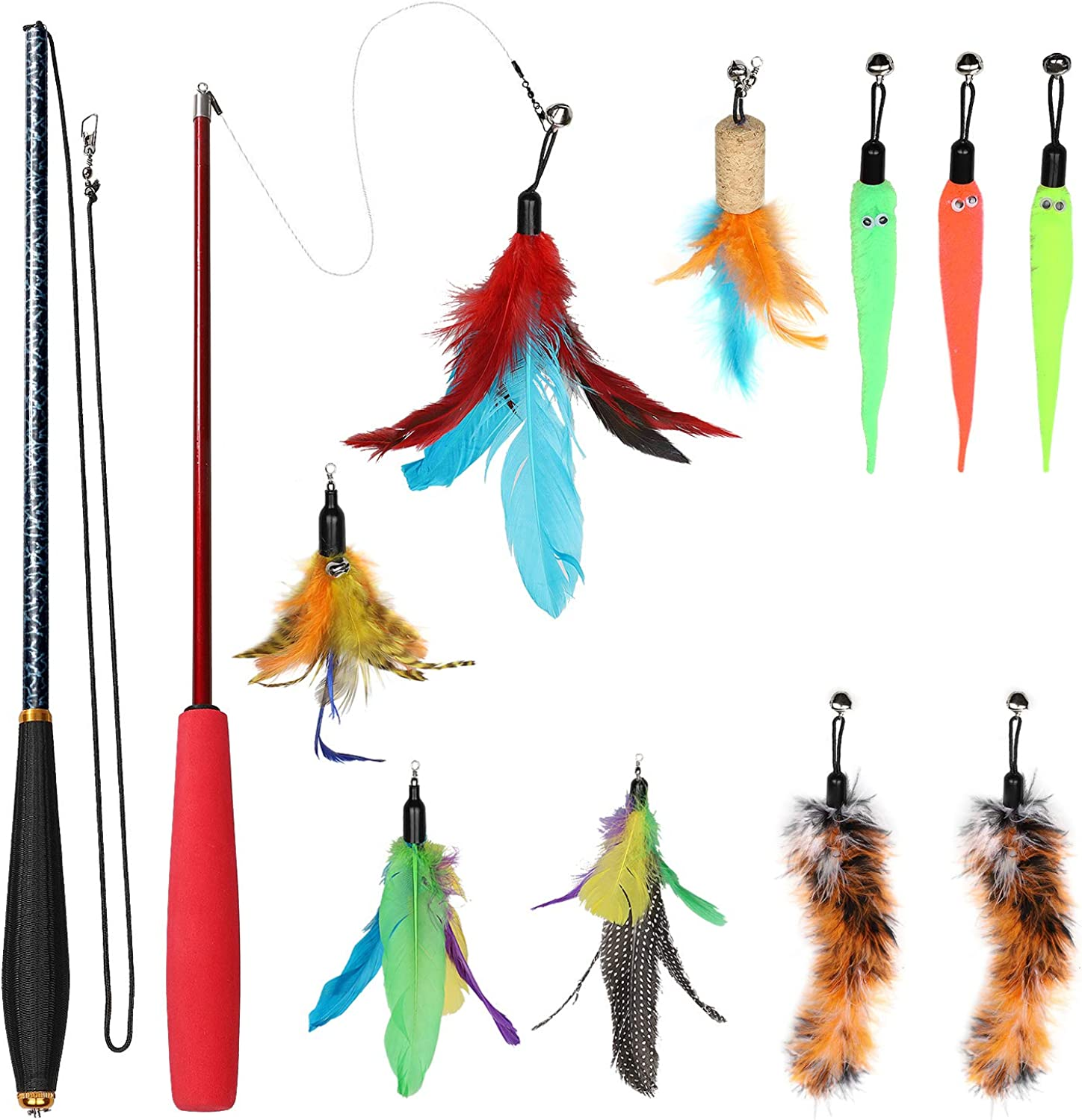 Ecokeo Cat Toy Set, 12 pcs Retractable Interactive Cat Feather Toy, Including 2 Cat Toy Wand 10 Refills Feather(5 Feather Toy 5 Worms Teaser Exerciser)