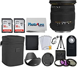 Sigma 17-50mm f/2.8 EX DC OS HSM Zoom Lens for Canon DSLRs with APS-C Sensors + 32GB Memory Card + 77mm Filter + Remote Control + Tripod + Memory Card Wallet + Photo4Less Cloth + Lens Cap Holder