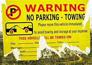 Parking Violation Stickers for Cars - 50 Vehicle is Illegally Parked Tow Stickers - Fluorescent Stickers - 7.5