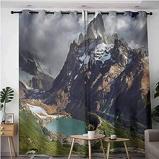VIVIDX Sliding Door Curtains,Landscape Mount Fitz Roy and Laguna Torre Los Glaciares National Park Patagonia Argentina,Room Darkening, Noise Reducing,W72x84L,Multicolor