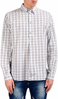 Dolce & Gabbana Men's 1/2 Button Plaid Dress Shirt Size US 16 IT 41