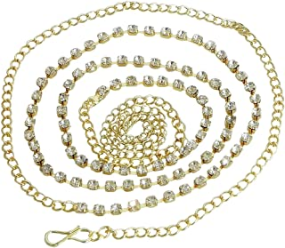 DollsofIndia White Stone Studded Golden Kamarband - Waistband - 23 inches - Adjustable Chain - 17 inches (LH62)