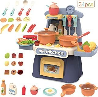 Gifts2U Kitchen Toy with Sound, Portable Kitchen Playsets Mini Kitchen Pretend Play Cooking Pots and Pans Set Dessert Food Party Role Toy Accessories for Girls and Boys Kids Toddler Birthday Gifts