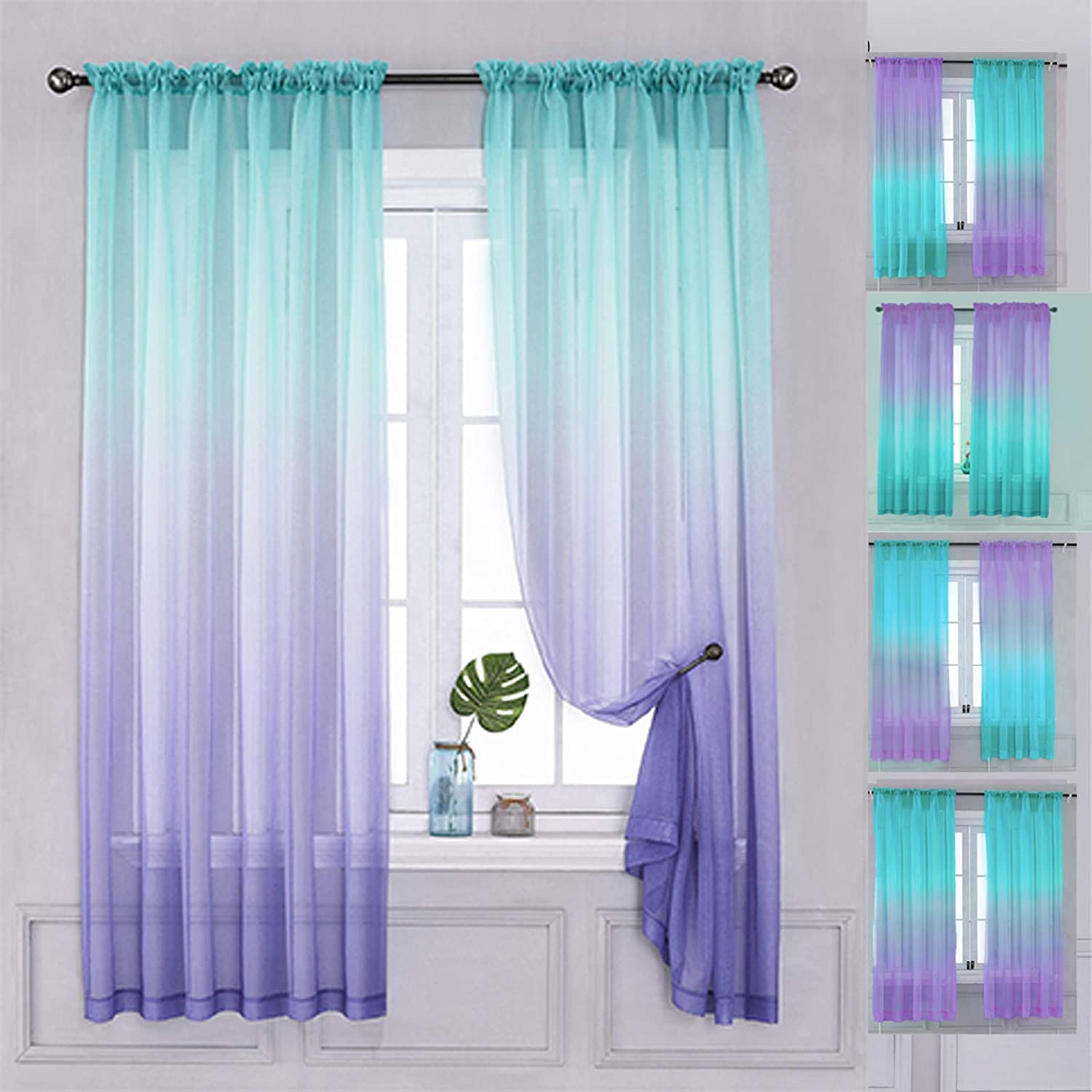 Buy Yancorp 14 Panel Sets Semi Bedroom Curtains 14 inch Length