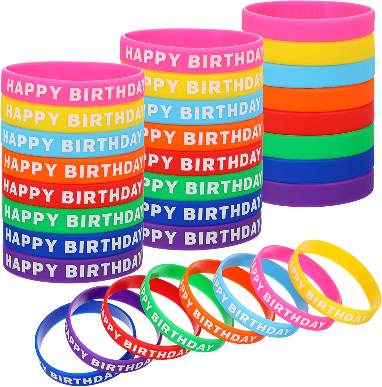 Happy Birthday Bracelets Max 64% OFF Max 70% OFF Silicone Colored Stretch Wristbands Rub
