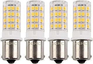 HGHC BA15S Single Contact Base 12V AC/DC 1156 1141 S8 SC LED Light Bulb 5 Watt Warm White 3000K for Outdoor Landscape Lighting Path Lighting Deck Lighting (Pack of 4)