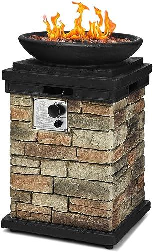 discount Giantex Propane Firebowl Column, 40,000 online online sale BTU Outdoor Gas Fire Pit, Compact Ledgestone Firepit Table with Lava Rocks and Rain Cover online sale