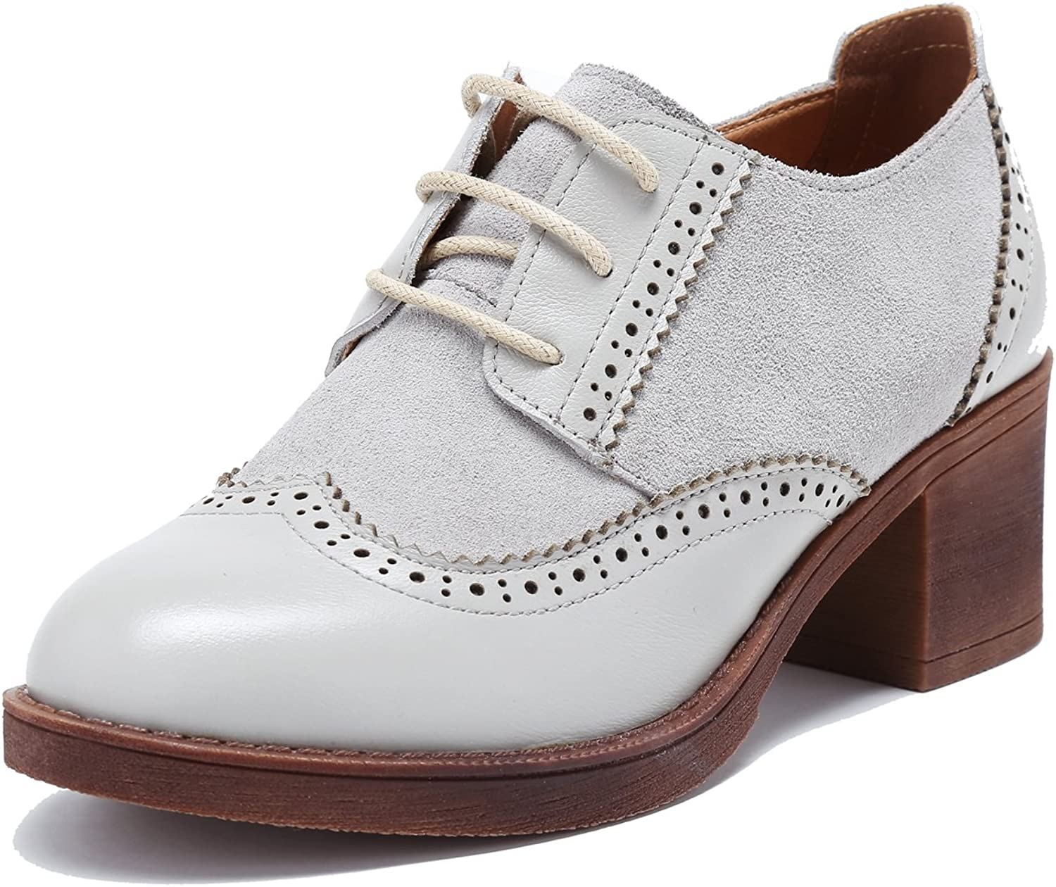 U-lite Womens Suede Genuine Leather Mid-Heel Pump Dress Oxfords, Perforated Lace-up Round-Toe Bred shoes