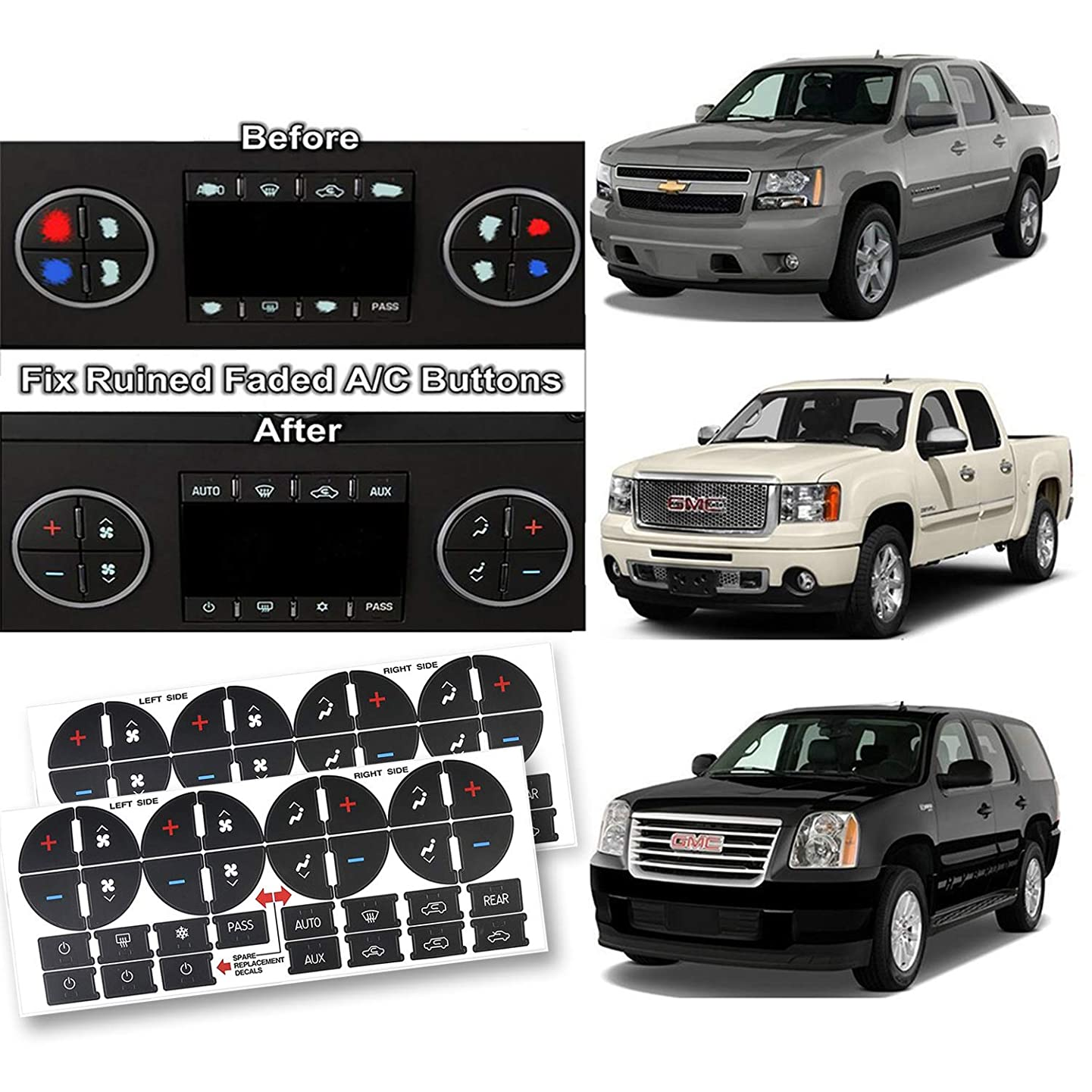 Fullsexy 2 Pack AC Dash Button Sticker Repair Kit for 2007-2013 GM GMC Chevy Chevrolet 2009-2012 Buick Saturn Decals Sticker PVC Fix Ruined Faded A/C Controls