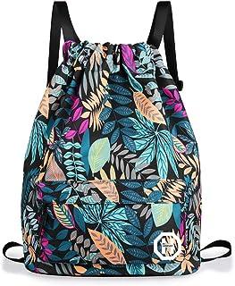 Sport Swimming Yoga Drawstring Backpack - Horsky Anime Leaf Shoulder School Bag Lightweight for Students Teens Boy Girl Travel Camping 35 L (Blue Leaf)
