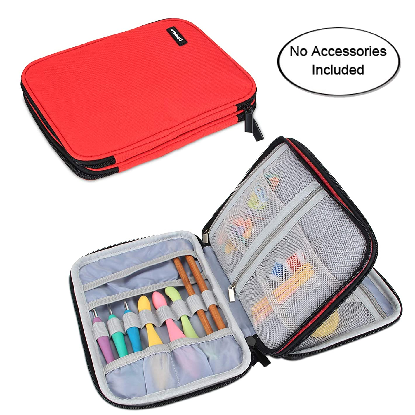 Damero Crochet Hook Case, Travel Storage Bag for Swing Crochet Hooks, Lighted Hooks, Needles(Up to 8'') and Accessories, Large, Red (No Accessories Included)