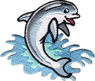 Dolphin - Blue Jumping In Waves- Embroidered Sew Iron on Patch