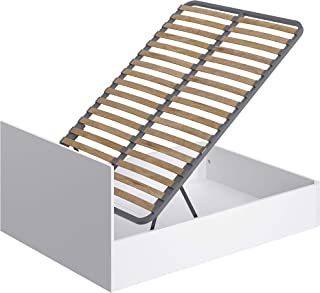 Marque Amazon -Movian - Cadre de lit double avec coffre Idro Modern, 190 x 140 x 80, Blanc