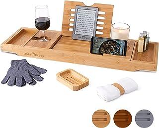 Temple Spring Table pour Baignoire avec Support pour Bougie, Verre à vin, Livre, Tablette, iPad et téléphone. Plateau de B...