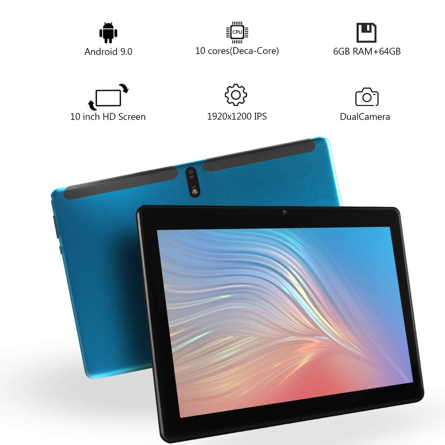 10.1'' Inch Android 9.0 Nougat Tablet PC Deca Core Pad with 6GB RAM 64GB ROM Dual Sim Card Slots 4G Unlocked Phone Call Phablet Built in WiFi Bluetooth GPS Google Play (Blue)
