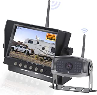 HD 1080P Digital Wireless Rear View 1 Cameras for RVs,Trailers,Bus,Motorhome,5th Wheels,Campers with 7'' DVR Monitor High-Speed Observation System Super Night Vision