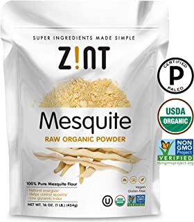 Raw Mesquite Powder by Zint: Organic, Non GMO, Vegan Protein Superfood - Mesquite Beans & Pods - Delicious Gluten Free Flo...