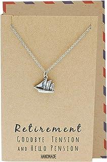 Quan Jewelry Mini Sailboat Pendant Necklace, Happy Retirement Gift for Teachers, Funny Sailing Charm, Beach Boat Sail Insp...