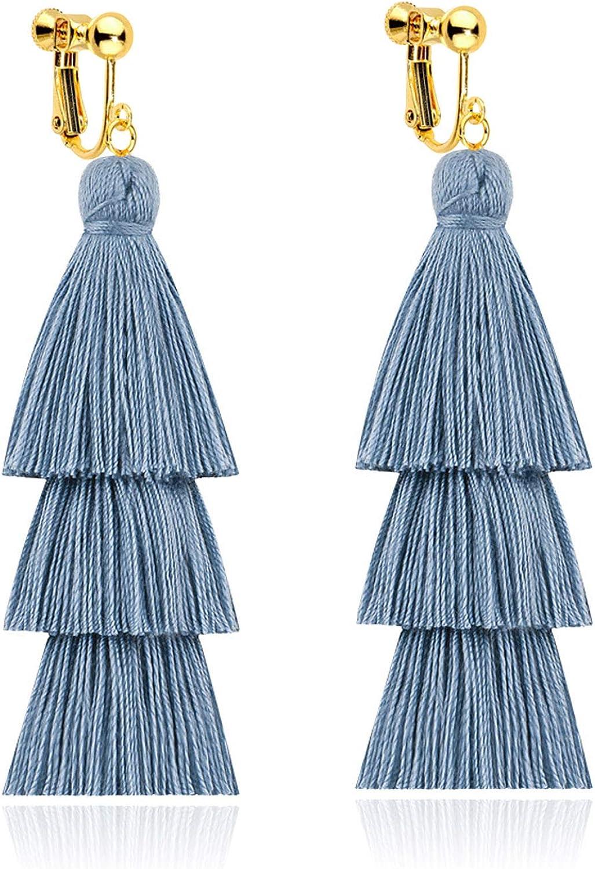 Tiered Tassel Long Clip on Earrings for Women Girls Screw Back Bohemian Boho Handmade Dangle Fringe Statement Lightweight Thread Layered Blue