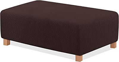 TAOCOCO Ottoman Cover Rectangle Storage Ottoman Slipcover Stretch Foot Rest Stool Covers Furniture Protectors Spandex Jacquard Fabric with with Elastic Bottom Chocolate