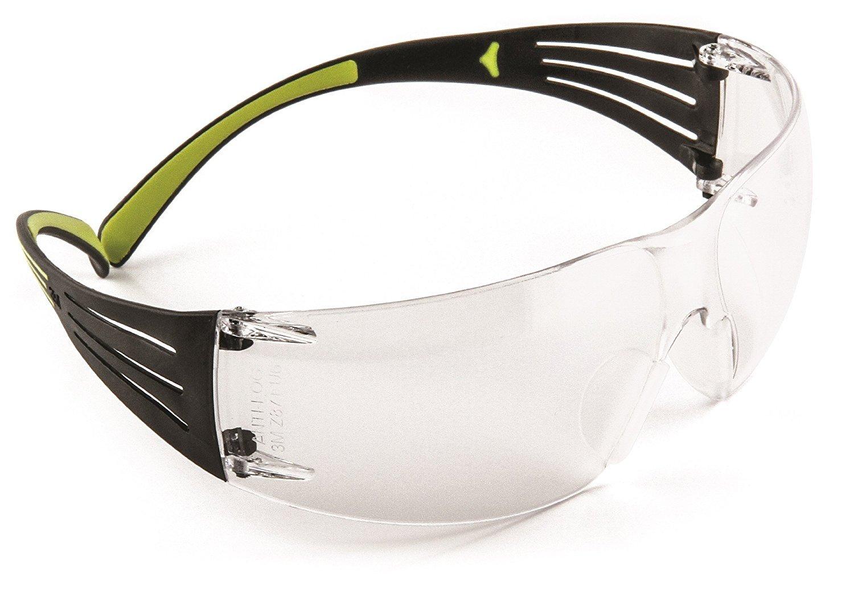 3M SecureFit 400 - Gafas de seguridad, antirrayas / antivaho, lente transparente +1.5, SF415AS / AF, color negro / verde
