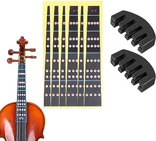6 Piezas Accesorios Violín Pegatinas Mapas de Escala Tono Entonación Etiquetas Fingerboard - 4/4, 2 Piezas Goma 4/4 Práctica Sordina para Violín, Color Negro