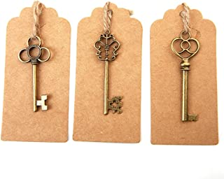 Bingcute Mixed Set of 30 Vintage Bronze Skeleton Key Charm with 30PCS Kraft Paper Gift Tags & 30 Feet Natural Jute Twine