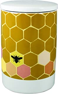 Vandor 35247 1Canoe2 Honeycomb Bee Ceramic Kitchen Storage Canister with Lid, 8.2 x 5.5 Inches