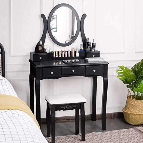 wholesale CHARMAID popular Vanity Set with Removable Makeup Organizer and Oval Rotating Mirror, Makeup Dressing Table with 5 Drawers and 2 Dividers, Women Girls Kids Makeup Desk Vanity with Cushioned online Stool (Black) outlet online sale