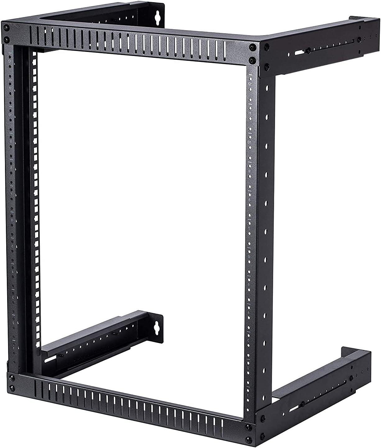 TECHTOO Wall Mount Rack 12U Adjustable Depth Open Frame 19Inch Server Equipment Rack Heavy Duty Patch Panel Bracket Network Equipment Rack (Adjustable 12U)