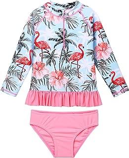 TFJH E Little Girls Ruffle Long Sleeve Swimsuits Two Piece Rash Guard Bikini Set UPF 50+ Sun Protection Zipper