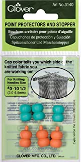 CLOVER Point Protectors and Stoppers for Knitting Needles Size #0-10-1/2 Aqua/Pink, 6-Piece