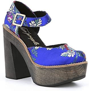 Blue Starlet Oriental Embroidered Satin Mary Jane...