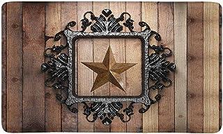 InterestPrint Western Texas Star with Vintage Iron Frame On Wooden Wall Doormat Non-Slip Indoor and Outdoor Door Mat Rug H...