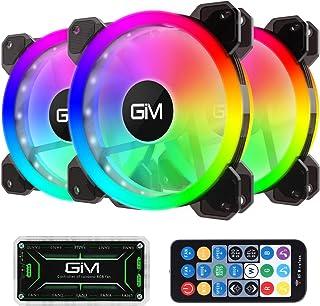 GIM KB-23 RGB pack de 3 Ventilateur de boîtier PC 120 mm Modes d'éclairage silencieux Rythme musical 5V ARGB Carte mère ad...