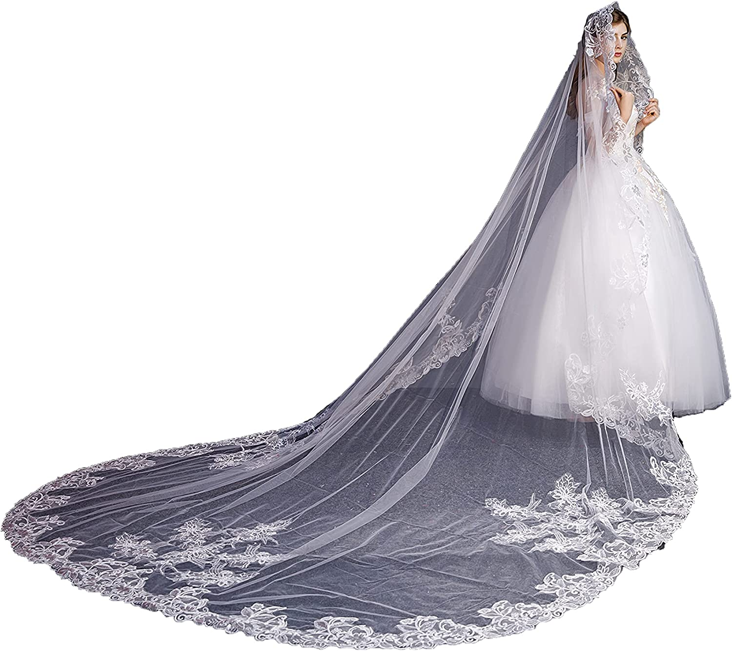 FAIOKAVER Cathedral Wedding Wholesale Veil 25% OFF Long 1 Tier 3 Bridal Size