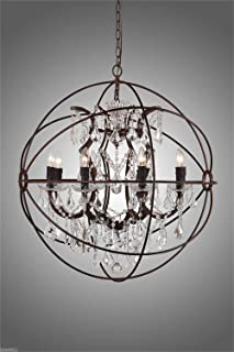 Chandeliers Crystal, Clear K9 Crystal Chandelier Rustic Iron Globe Suspension Handing Lamp, Type of Bulbs : E14 25W