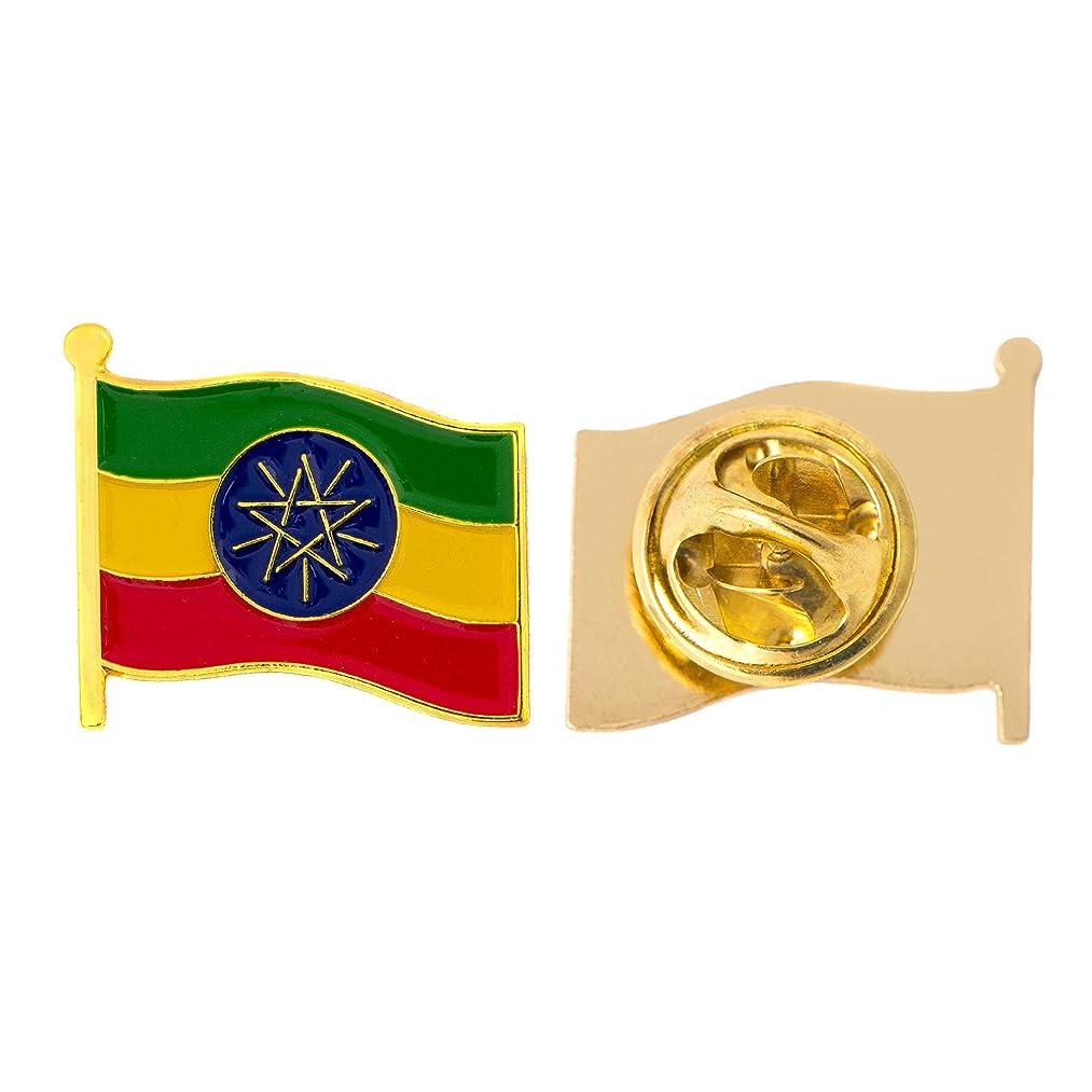 Ethiopia Country Flag Lapel Pin Enamel Made of Metal Souvenir Hat Men Women Patriotic (Waving Flag Lapel Pin)