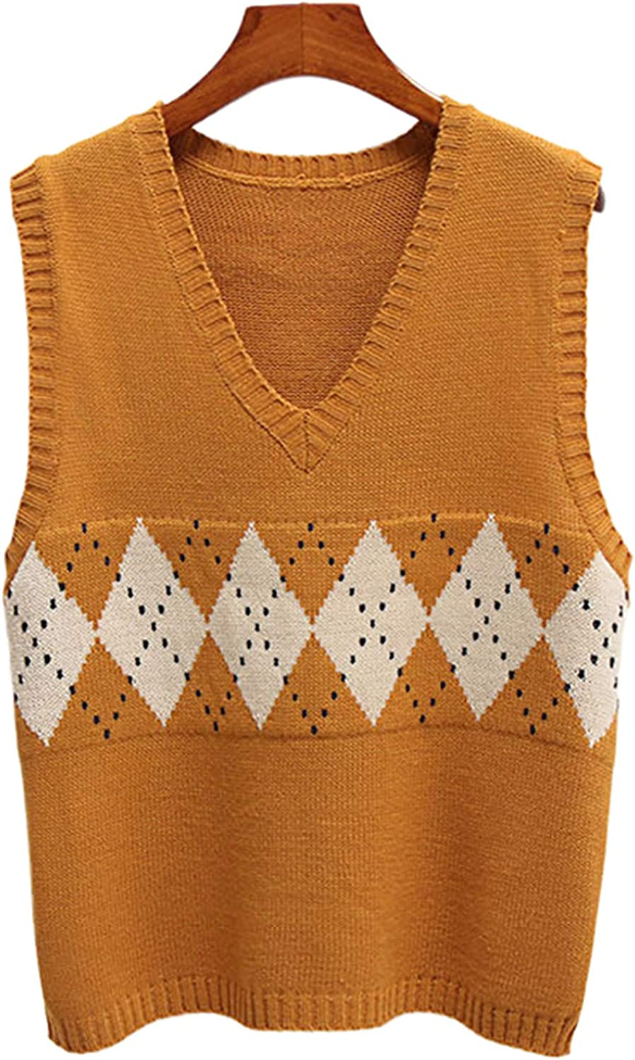 Sweater Vest Women V-Neck Casual Vintage Pullover Knitted Sweater Korean Loose Sleeveless Tops