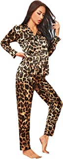 SheIn Women's Satin Sleepwear Lapel V Neck Leopard Print Long Sleeve Pajamas Set