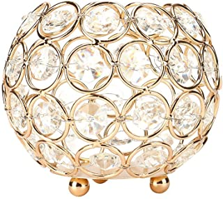 Anferstore Father's Day Valentines Day Crystal Tea Light Candle Holders/Candle Shade for Wedding Modern Centerpieces(Gold) (S)