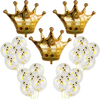 3Pcs Crown Balloons with 20Pcs Gold Confetti Balloons,Crown Foil Helium Balloons for Birthday Wedding Party Decoration (B)